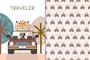 Reisender Leopard fahren