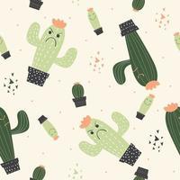 nahtloses kindliches Muster des Kaktus