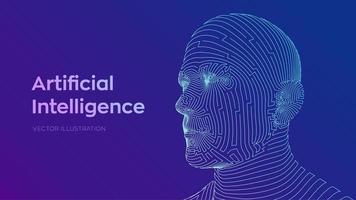 abstraktes digitales menschliches Gesicht vektor