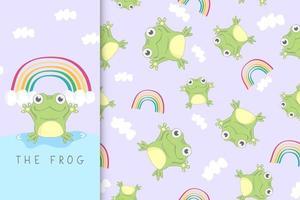 fröhlicher Frosch und der Regenbogen vektor