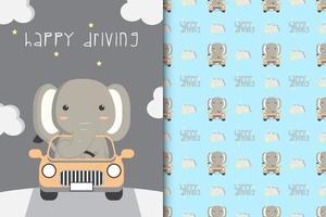 Elefant, der ein Auto fährt