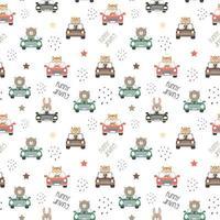 Muster von niedlichen Tieren, die ein Auto fahren