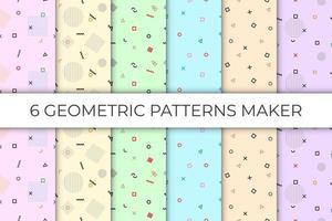 6 Sammlungen von geometrischen nahtlosen Mustern