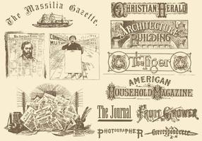 Zeitungsköpfe und Zeichnungen vektor