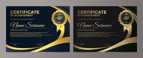 premiumguld och blå svart certifikatmalluppsättning