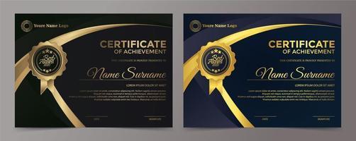 premium gyllene svart certifikat malluppsättning