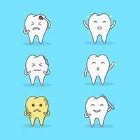 Charakter Zahn in vielen Aktivitäten vektor