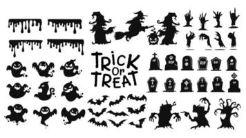 halloween trick eller behandla ikoner vektor