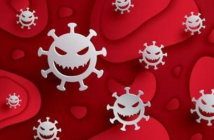 Coronavirus covid-19 auf rotem Hintergrund.