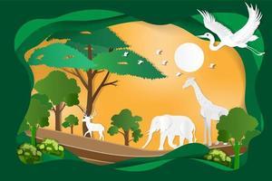 elefanter, giraffer, fåglar, hjortar lever i skogen