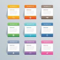 Infografiken Rechteck Papier Index mit 9 Daten