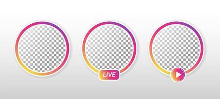 Gradientenkreis Live-Streaming auf Social Media. vektor