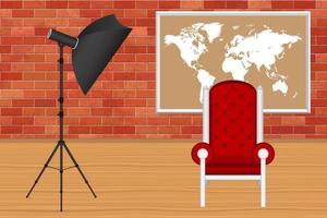 fotostudio med fotograferingsparaply och röd stol