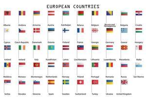 europa flaggor på vitt vektor