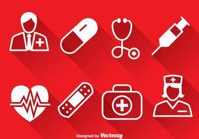 Medizinische weiße Icons Vektor
