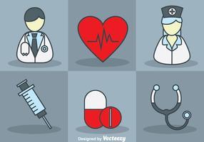 Arzt und Krankenschwester Vektor Set