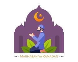Ramadan-Hintergrund mit muslimischem Mann, der in Moschee betet