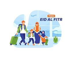glad eid al fitr bakgrund med muslimsk familj som går ombord på ett plan