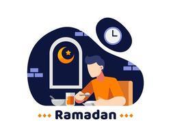 ramadan bakgrund med ung man äter mitt på natten