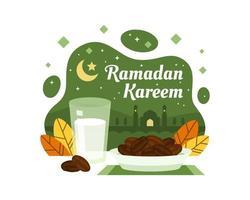 Ramadan Kareem Hintergrund mit Datteln und Milch vektor