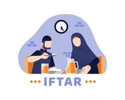 Iftar Hintergrund mit muslimischen Paaren, die zusammen am Tisch essen