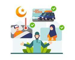 Ramadan Regeln und Tradition mit islamischen Charakteren