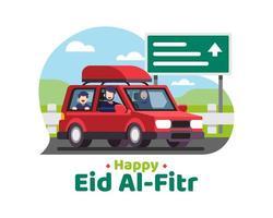 glücklicher eid al fitr Hintergrund mit muslimischer Familie, die in den Urlaub geht