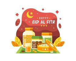 glücklicher eid al fitr Hintergrund mit verschiedenen Nahrungsmitteln