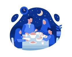 Moslemische Familien essen zusammen am Esstisch zu Abend