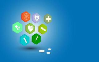 hexagon medicinsk ikonuppsättning på blå