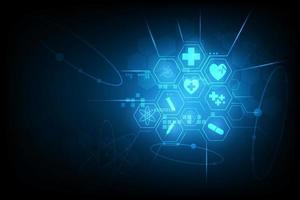 glödande blå hexagon medicinsk ikon design