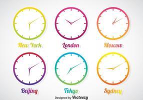 Zeitzone In Gradient Uhr Vektor Set