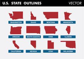 US-Staat umreißt freien Vektor
