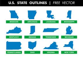 US State skisserar gratis vektor