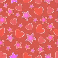 nahtloses Muster des Valentinstags der roten und rosa Herzen