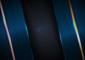 abstrakt blå metallisk struktur med rosguld och guldlinjer vektor