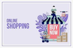 online shopping och leverans platt designkoncept vektor