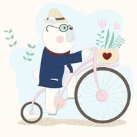 björn i kostym ridning cykel