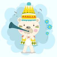 Baby Bär spielt Musik auf kleinem Horn