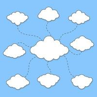 Wolkendiagramm auf blauem Hintergrund