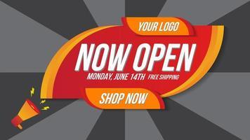 nu öppna butik online-shopping banner vektor