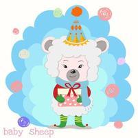 Schaf, das Geschenkbox mit rotem Band hält