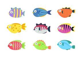 tecknad fiskuppsättning vektor