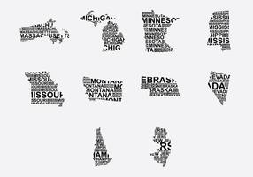Amerika Wort Karte Set 4