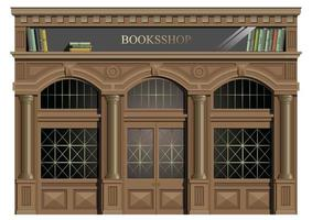trä yttre fasad med böcker