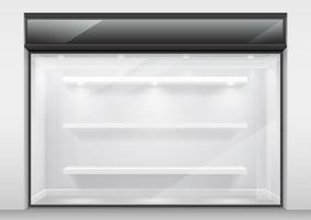 große moderne Glasschaufenster mit Regalen vektor