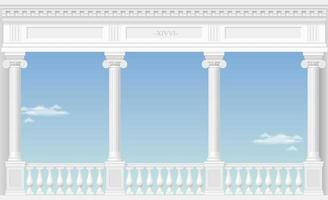 Balkon eines fabelhaften Palastes mit Blick auf die Wolken