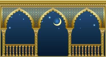 gyllene balkong i ett fantastiskt palats