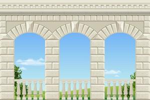 balkong i ett fantastiskt palats i klassisk stil