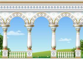 balkong i ett fantastiskt palats i östlig klassisk stil